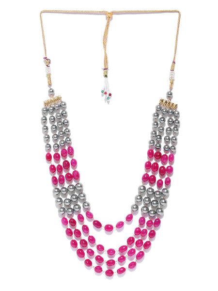 Infuzze Magenta & Grey Brass-Plated Beaded Layered Necklace - PR0185