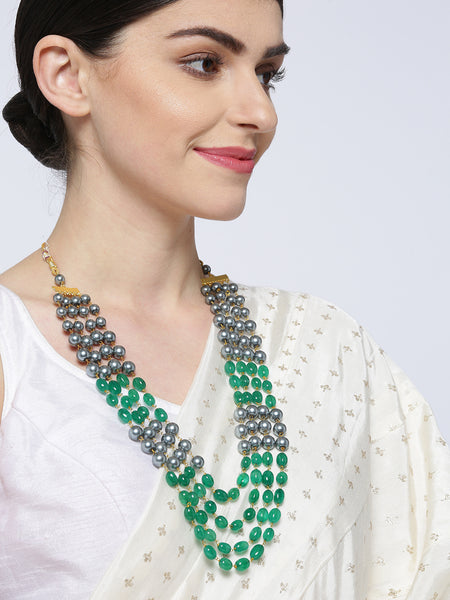 Infuzze Green & Grey Brass-Plated Beaded Layered Necklace - PR0186