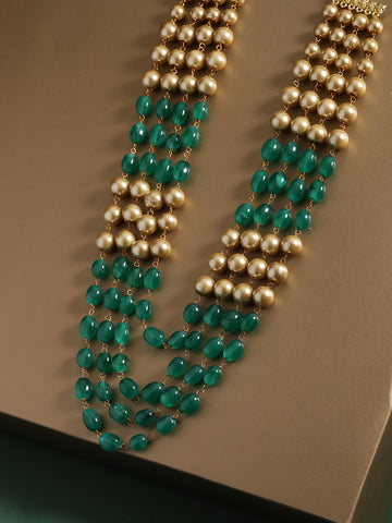 Infuzze Green & Gold-Toned Brass-Plated Beaded Layered Necklace - PR0187