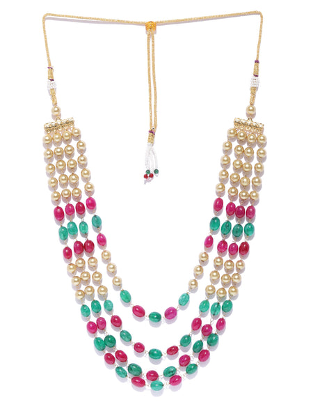 Infuzze Magenta & Green Brass-Plated Beaded Layered Necklace - PR0188