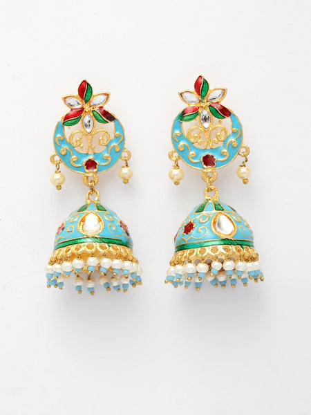 Infuzze Turquoise Blue & Gold-Toned Dome Shaped Jhumkas -PR0196