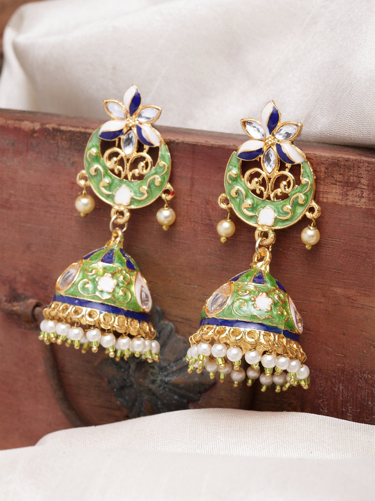 Infuzze Sea Green & Gold-Toned Dome Shaped Jhumkas -PR0197
