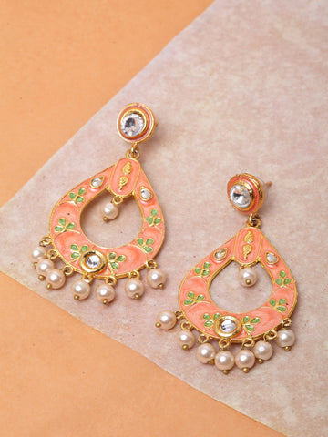 Infuzze Peach-Coloured Teardrop Shaped Drop Earrings -PR0198