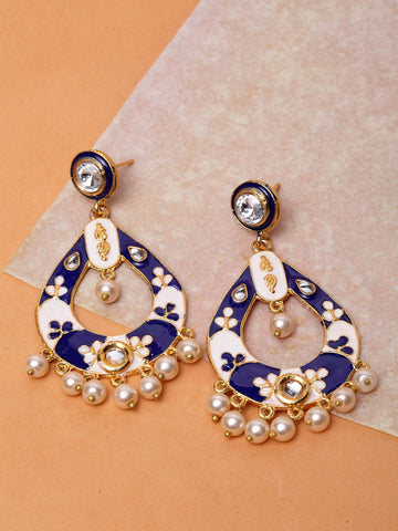 Infuzze Blue & Cream-Coloured Classic Drop Earrings -PR0199