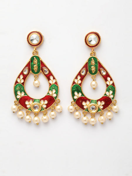 Infuzze Multicoloured Meenakari Classic Drop Earrings -PR0200
