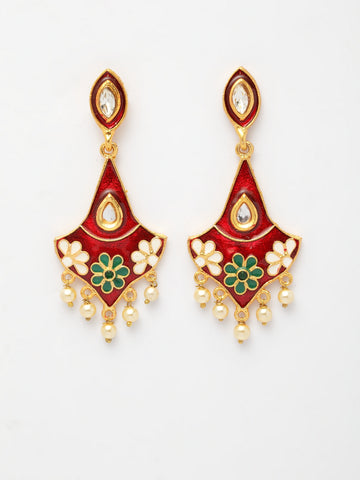 Infuzze Maroon & Gold-Toned Classic Drop Earrings -PR0204