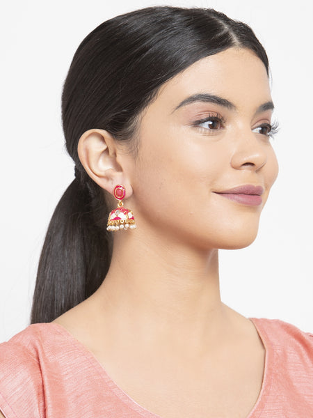 Infuzze Pink & Gold-Toned Dome Shaped Jhumkas -PR0206