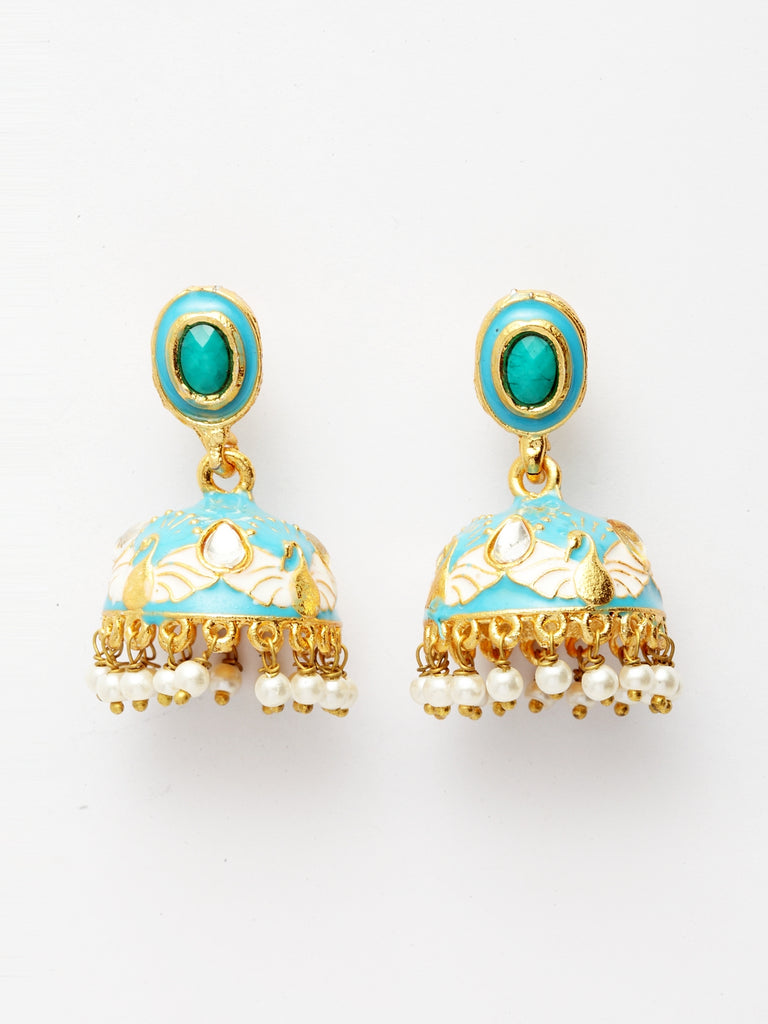 Infuzze Turquoise Blue & Gold-Toned Meenakari Dome Shaped Jhumkas -PR0207