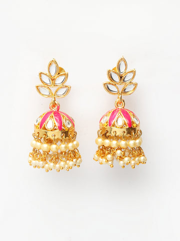 Infuzze Pink & Gold-Toned Dome Shaped Jhumkas -PR0208