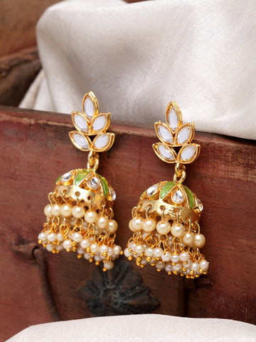 Infuzze Green & Gold-Toned Dome Shaped Jhumkas -PR0210