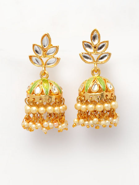 Infuzze Green & Gold-Toned Dome Shaped Jhumkas -PR0211