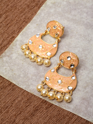 Infuzze Peach-Coloured & Gold-Toned Classic Drop Earrings -PR0211