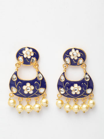 Infuzze Blue & Gold-Toned Classic Drop Earrings -PR0212