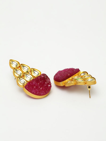Infuzze Magenta Kundan Studded Earrings -PR0214