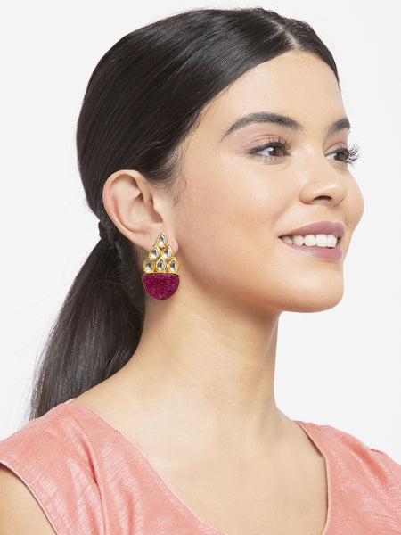 Infuzze Magenta Kundan Studded Earrings -PR0215