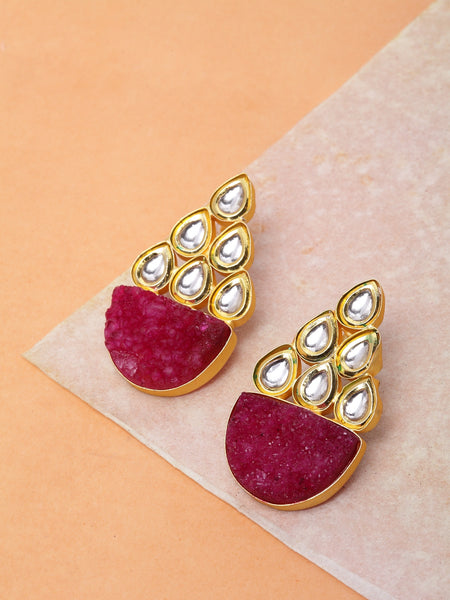 Infuzze Magenta Kundan Studded Earrings -PR0216