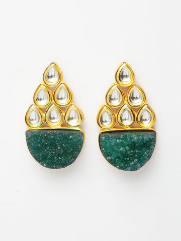 Infuzze Green & Gold-Toned Classic Drop Earrings -PR0214