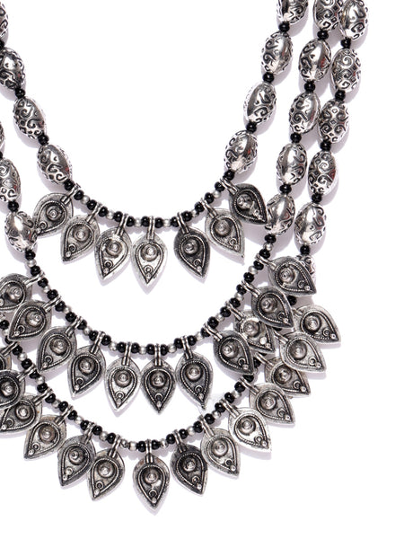 Infuzze Oxidised Silver-Toned Layered Necklace - Q027