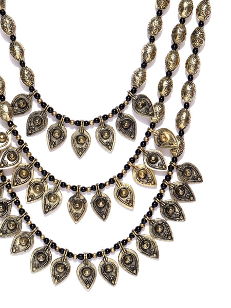 Infuzze Antique Gold-Toned & Black Layered Necklace - Q028