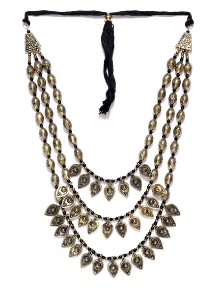 Infuzze Antique Gold-Toned & Black Layered Necklace