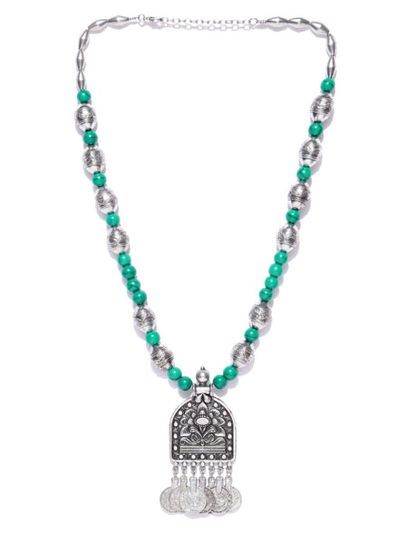 Infuzze Oxidised Silver-Toned & Green Beaded Tribal Necklace - Q045