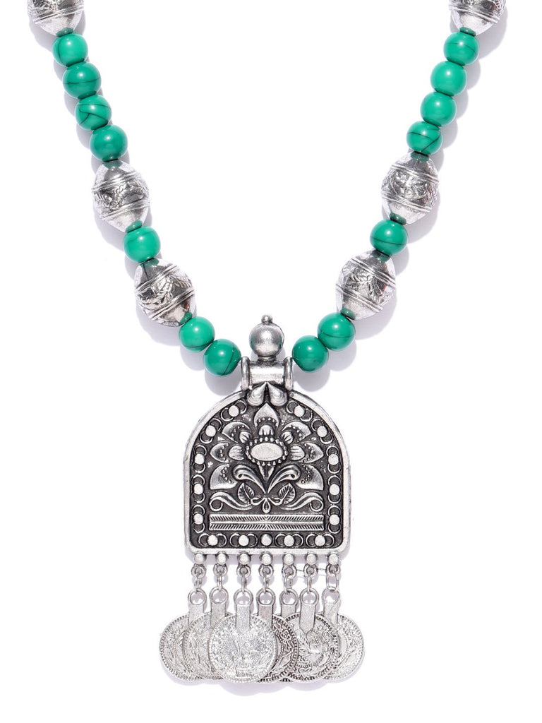 Infuzze Oxidised Silver-Toned & Green Beaded Tribal Necklace