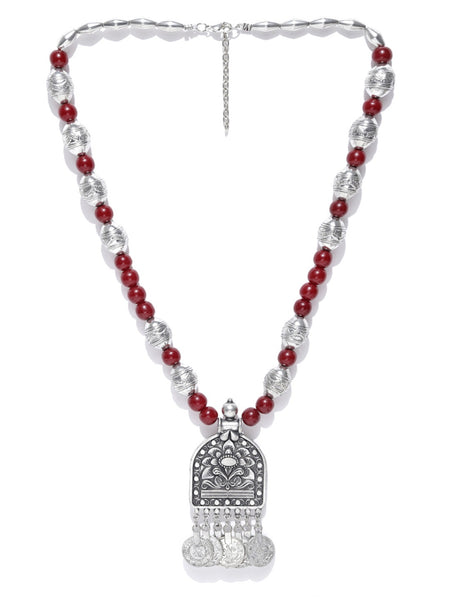 Infuzze Oxidised Silver-Toned & Maroon Beaded Tribal Necklace - Q046