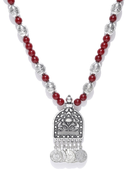 Infuzze Oxidised Silver-Toned & Maroon Beaded Tribal Necklace