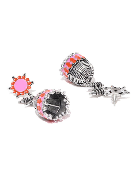 Infuzze Oxidised Silver-Toned & Pink Enamelled Dome Shaped Jhumkas - Q069