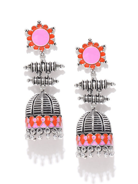 Infuzze Oxidised Silver-Toned & Pink Enamelled Dome Shaped Jhumkas