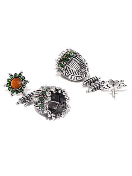Infuzze Oxidised Silver-Toned & Green Enamelled Dome Shaped Jhumkas - Q072