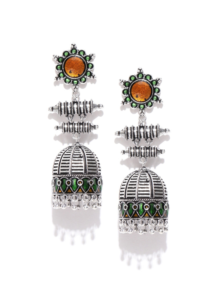 Infuzze Oxidised Silver-Toned & Green Enamelled Dome Shaped Jhumkas
