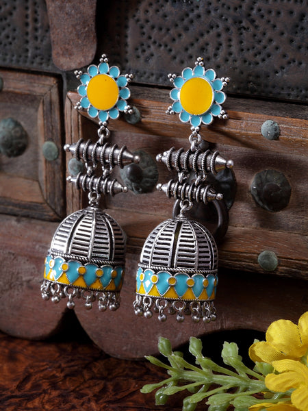 Infuzze Oxidised Silver-Toned & Blue Enamelled Dome Shaped Jhumkas - Q073