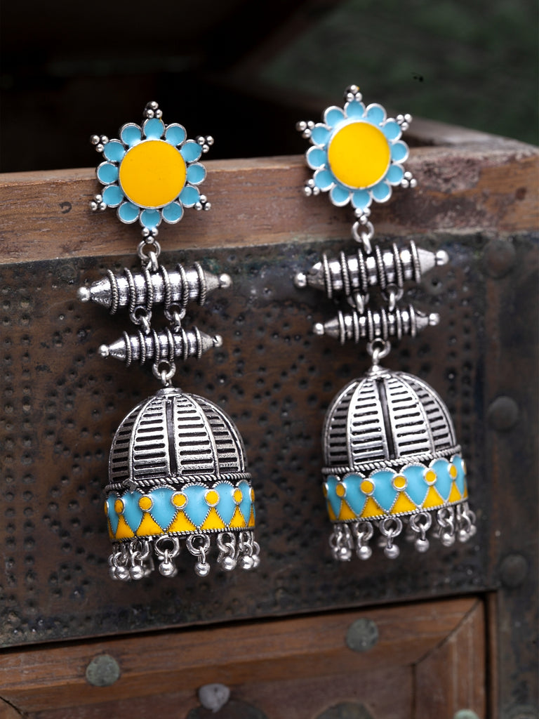 Infuzze Oxidised Silver-Toned & Blue Enamelled Dome Shaped Jhumkas