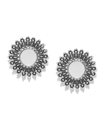 Infuzze Oxidised Silver-Toned Mirror-Work Circular Oversized Studs