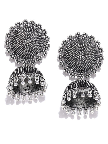 Infuzze Oxidised Silver-Plated Dome Shaped Jhumkas