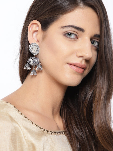 Infuzze Oxidised Silver-Plated Beaded & Textured Classic Drop Earrings - R016