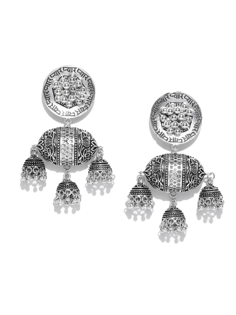Infuzze Oxidised Silver-Plated Beaded & Textured Classic Drop Earrings