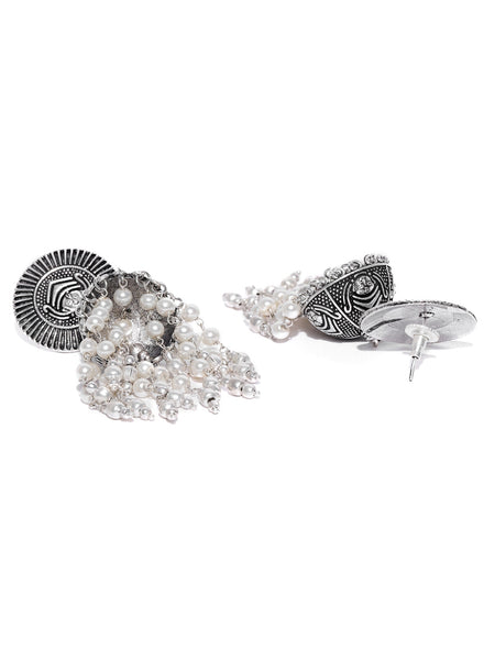 Infuzze Off-White Oxidised Silver-Plated Dome-Shaped Jhumkas - R018