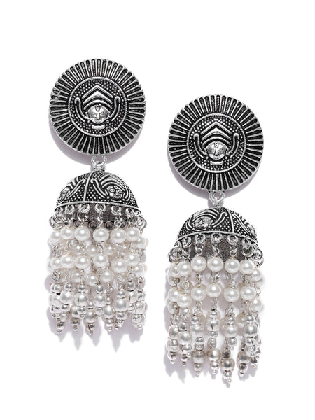 Infuzze Off-White Oxidised Silver-Plated Dome-Shaped Jhumkas