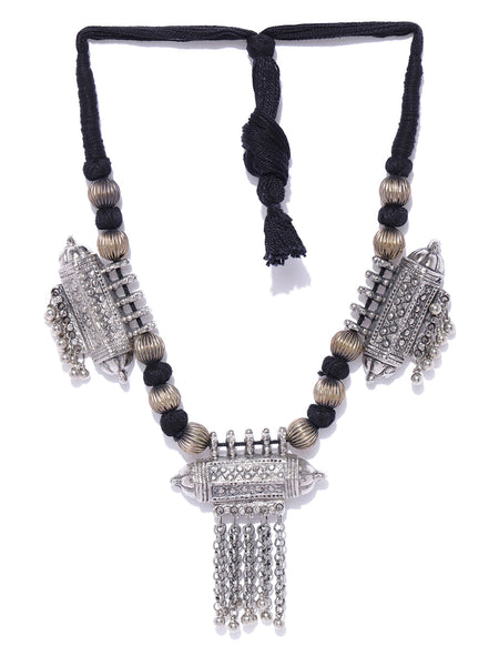 Infuzze Oxidised Silver-Toned & Black Afghan Necklace - R041