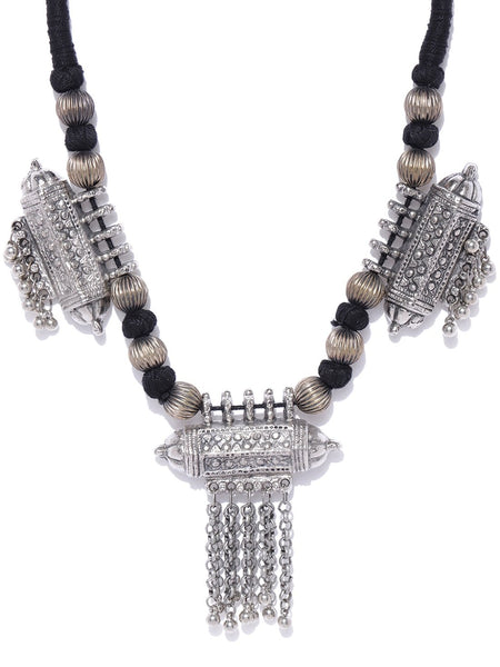 Infuzze Oxidised Silver-Toned & Black Afghan Necklace