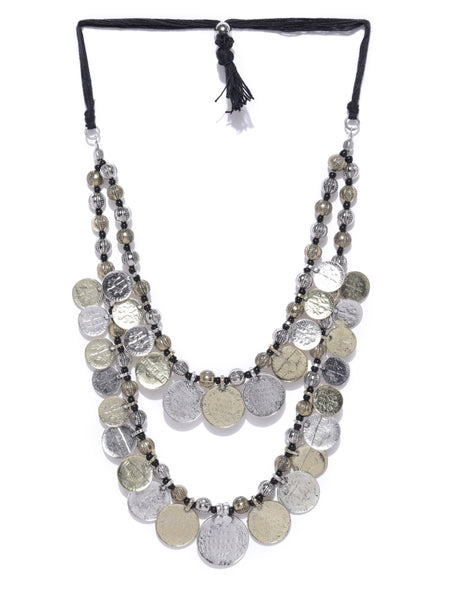 Infuzze Antique Gold & Oxidised Silver-Toned Afghan Necklace - R053