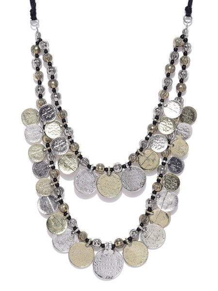 Infuzze Antique Gold & Oxidised Silver-Toned Afghan Necklace