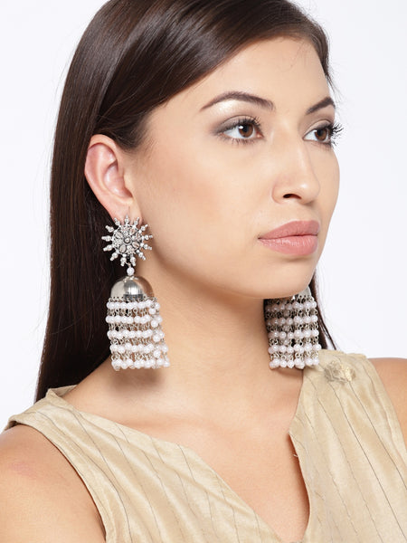 Infuzze Oxidised Silver-Toned & Off-White Beaded Dome Shaped Jhumkas - R057