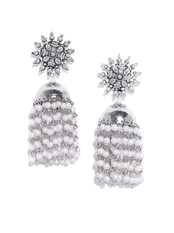 Infuzze Oxidised Silver-Toned & Off-White Beaded Dome Shaped Jhumkas