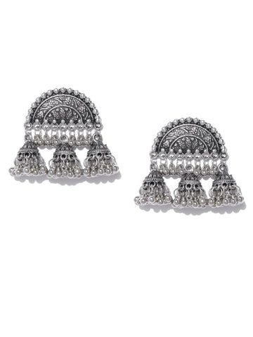 Infuzze Oxidised Silver-Toned Dome Shaped Textured Jhumkas