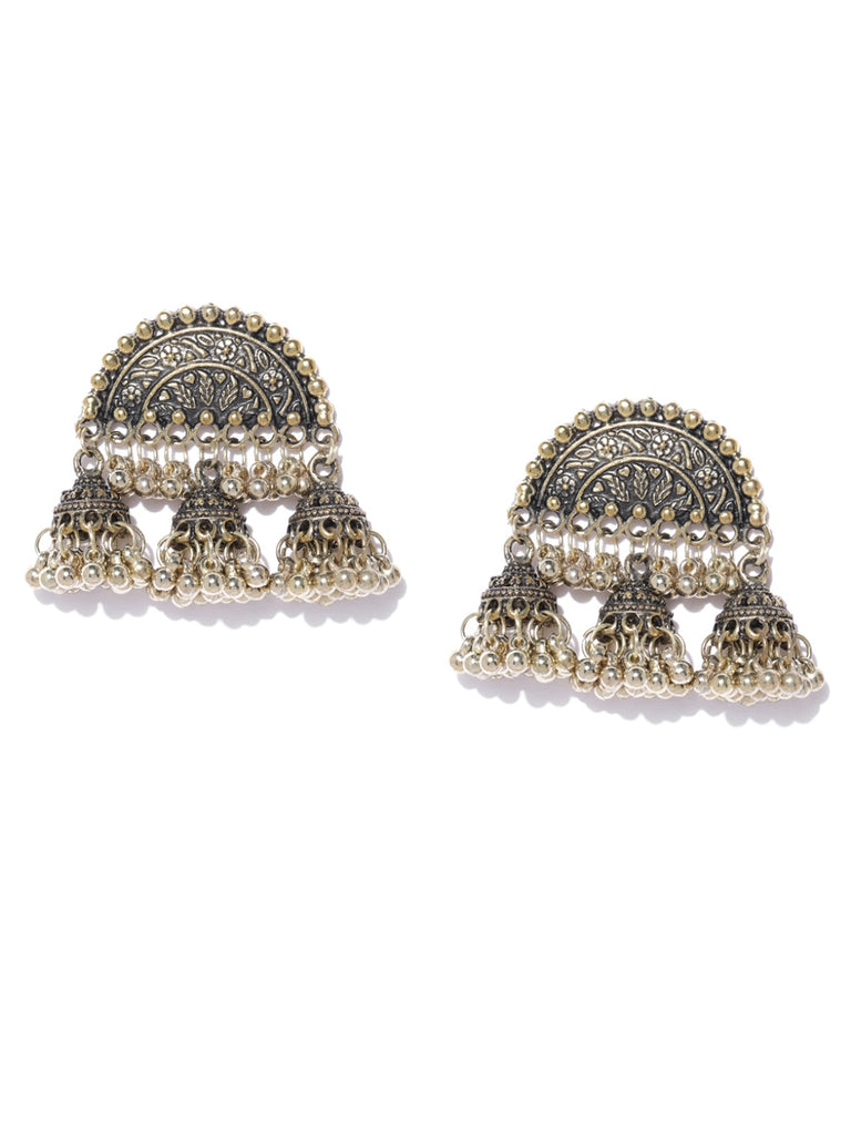 Infuzze Antique Gold-Toned Dome Shaped Textured Jhumkas