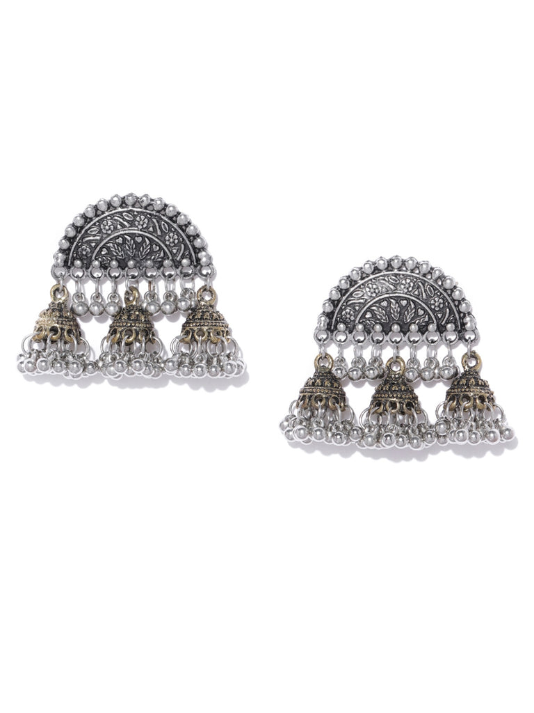 Infuzze Oxidised Silver & Antique Gold-Toned Classic Jhumkas