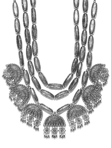 Infuzze Oxidised Silver-Toned Textured Layered Afghan Necklace - S066